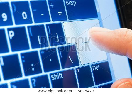 finger push enter on touch screen virtual keyboard