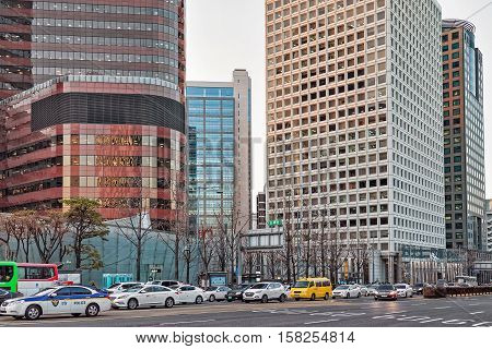 Skyscrapers And Cars In Jung District Seoul
