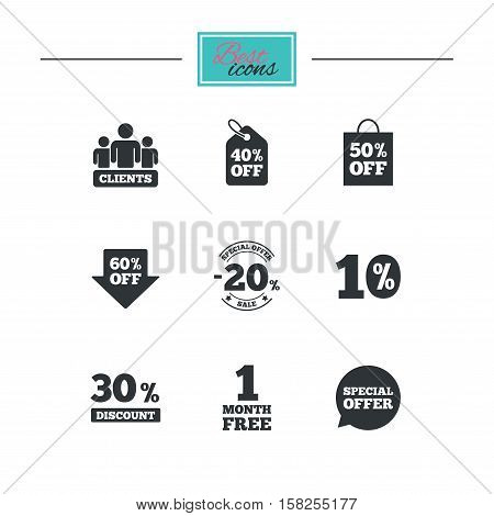 Sale discounts icon. Shopping, clients and speech bubble signs. 20, 30, 40 and 50 percent off. Special offer symbols. Black flat icons. Classic design. Vector