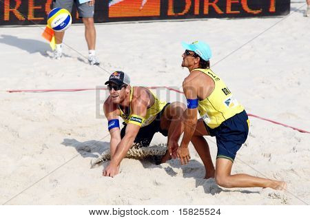 PRAGUE - JUNE 18: Alison Cherutti & Emanuel Rego from Brasil compete at SWATCH FIVB World Tour 2010 June 18, 2010 Prague