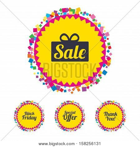 Web buttons with confetti pieces. Sale icons. Special offer and thank you symbols. Gift box sign. Bright stylish design. Vector