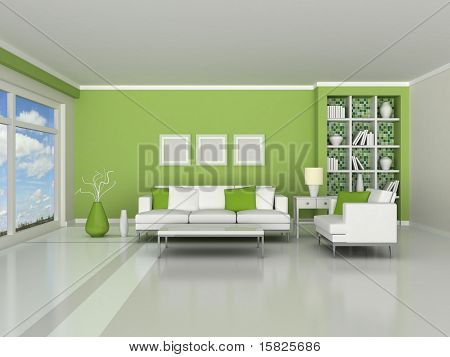 interior of the modern room, green wall and white sofas