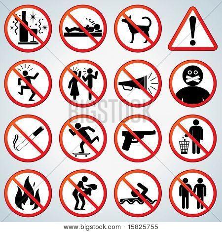 Verboten und Alarmierung Zeichen Vektor-Sammlung
