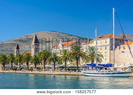 Waterfront view at mediterranean scenic in touristic famous destination, town Trogir, Croatia Europe.