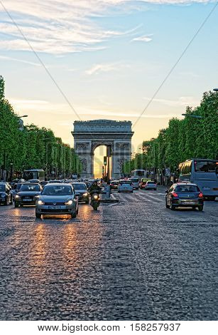 Triumphal Arch Of Star In Paris In France
