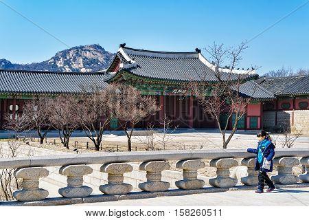 Wooden Pavilions At Gyeongbokgung Palace In Seoul