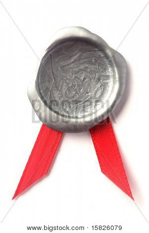 Silver wax seal with red ribbon