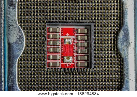 Abstract perspective in macro detail of a motherboard