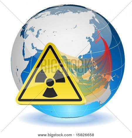 Earth globe with radiation hazard sign. Japanese radioactive contamination hazard.