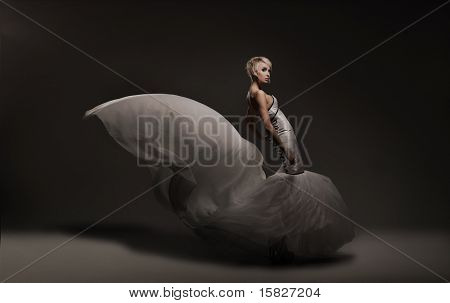 Young beauty woman wearing gorgeous dress