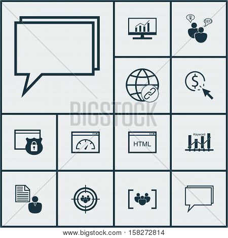Set Of Marketing Icons On Focus Group, Seo Brainstorm And Questionnaire Topics. Editable Vector Illu