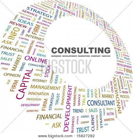 CONSULTING. Word collage on white background. Vector illustration. Illustration with different association terms.