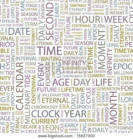 TIME. Seamless vector pattern with word cloud. Illustration with different association terms.