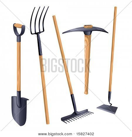 Gardening groundworks tools. Vector.