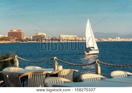 Yacht in Palma de Majorca on a sunny day.