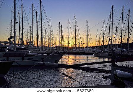 The sunset in the Harbour of Palma de Mallorca (Majorca Spain)