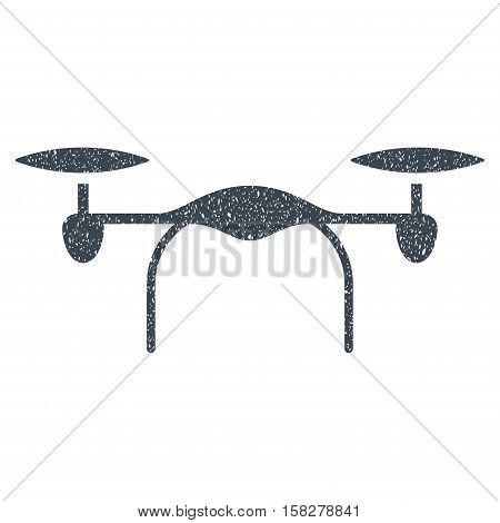 Quadcopter grainy textured icon for overlay watermark stamps. Flat symbol with unclean texture. Dotted vector smooth blue ink rubber seal stamp with grunge design on a white background.