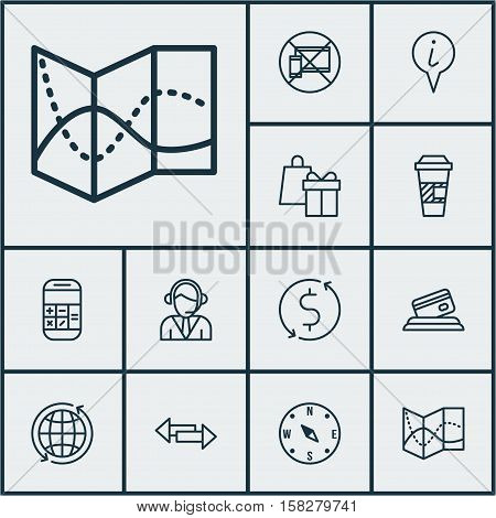 Set Of Transportation Icons On Locate, Credit Card And Money Trasnfer Topics. Editable Vector Illust