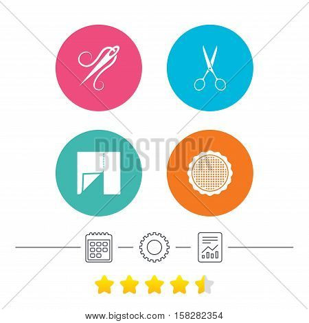 Textile cloth piece icon. Scissors hairdresser symbol. Needle with thread. Tailor symbol. Canvas for embroidery. Calendar, cogwheel and report linear icons. Star vote ranking. Vector