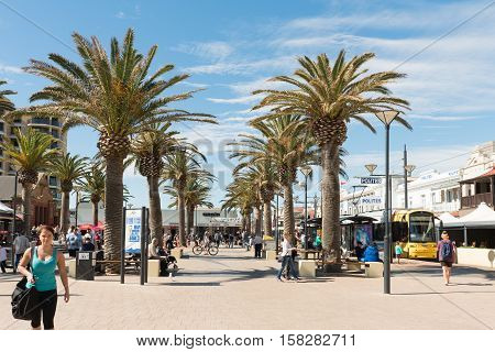 Adelaide Australia - August 28 2016: Shoppers and tourists in Moseley square at Adelaide's beachside suburb of Glenelg.