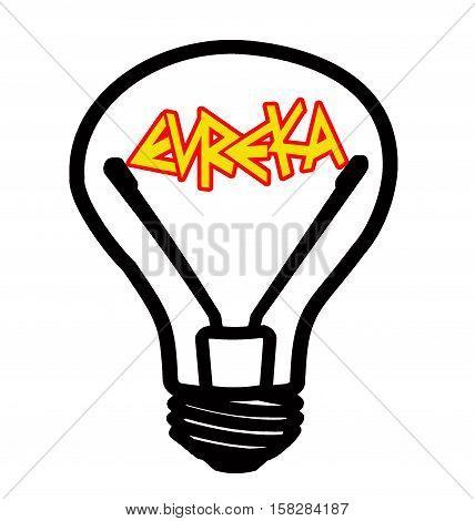 Included light bulb - red Eureka! - on white  background, isolated illustration
