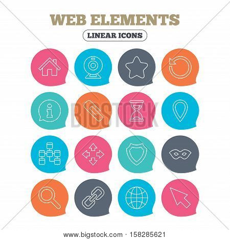 Web elements icons. Paperclip, video camera and information speech bubble. Database, anonymous mask and secure shield. Flat speech bubbles with linear icons. Vector