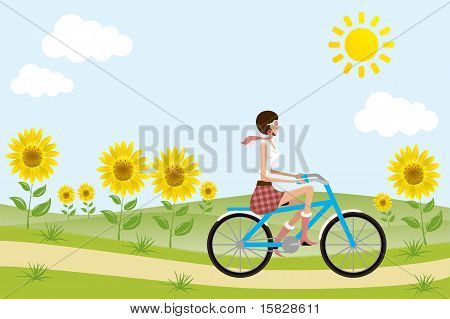 Bicycle girl on sunflowers