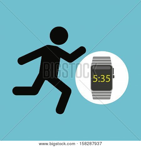 smart watch technology with character man run vector illstration eps 10