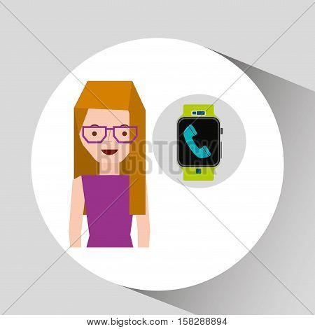 cartoon girl smart watch app telephone vector illustration eps 10