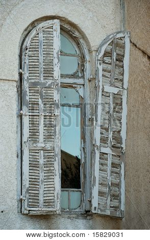 Old Window In Bauhaus Style Building