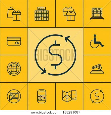 Set Of Transportation Icons On World, Credit Card And Calculation Topics. Editable Vector Illustrati