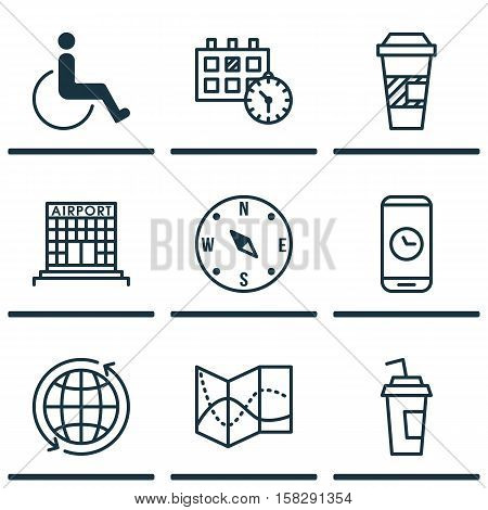 Set Of Transportation Icons On Call Duration, Locate And Road Map Topics. Editable Vector Illustrati