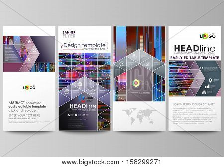Flyers set, modern banners. Business templates. Cover design template, abstract vector layouts. Glitched background made of colorful pixel mosaic. Digital decay, signal error, television fail. Trendy glitch backdrop.
