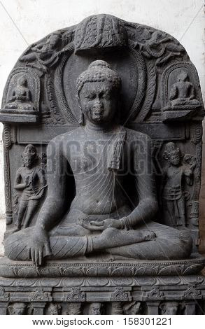 KOLKATA, INDIA - FEBRUARY 09:  Buddha in Bhumisparsha, from 10 -11th century found in Bihar now exposed in the Indian Museum in Kolkata, West Bengal, India on February 09, 2016.