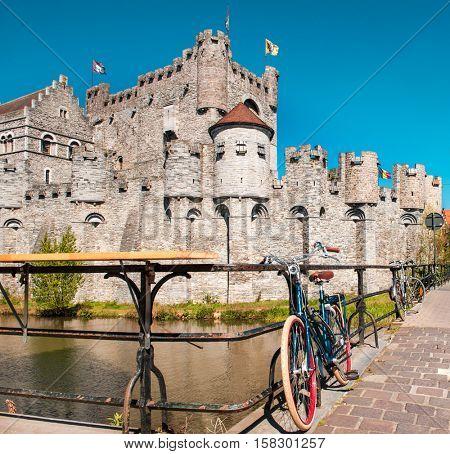Gravensteen or Castle of the Counts, medieval landmark in Ghent, Belgium