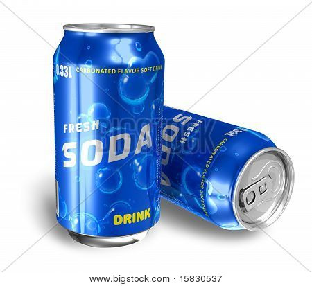 Refreshing soda drinks in metal cans