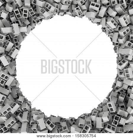 3d rendering of round frame of blocks on white background. Photo frame. Building material. Industry-specific background.