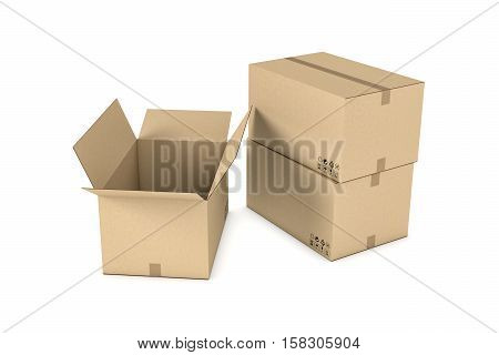 3d rendering of light beige cardboard mail box, isolated on the white background. Postal services. Packing and crating. Storage of different products.