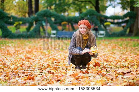 Girl Gathering Autumn Leaves In Park