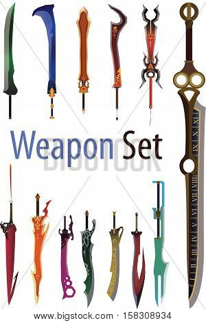 Vectors illustration of Weapon Cartoon and Game set