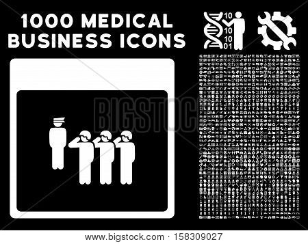 White Army Squad Calendar Page vector icon with 1000 medical business pictograms. Set style is flat symbols, white color, black background.