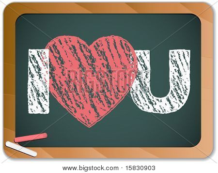Blackboard With I Love Heart You Message Written With Chalk