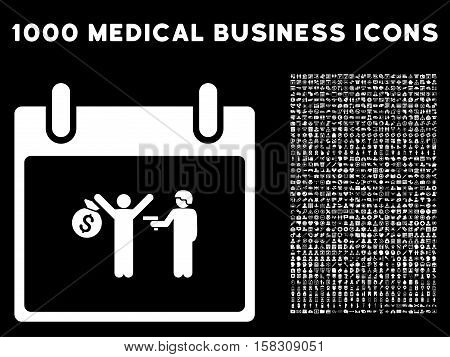 White Arrest Calendar Day vector icon with 1000 medical business pictograms. Set style is flat symbols, white color, black background.