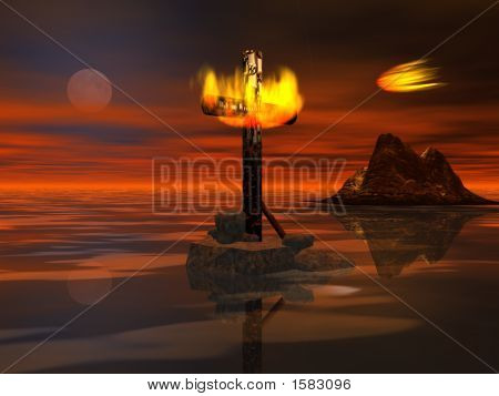 Burning Cross On Night Sea - Digital Illustration