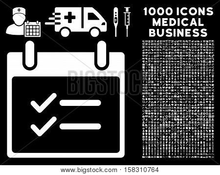 White Check Items Calendar Day vector icon with 1000 medical business pictograms. Set style is flat symbols, white color, black background.