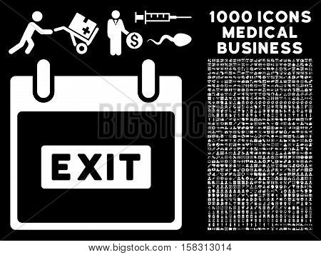 White Exit Caption Calendar Day vector icon with 1000 medical business pictograms. Set style is flat symbols, white color, black background.