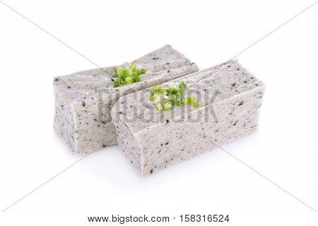 tofu mix black sesame seeds on white background