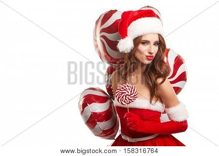 beautiful girl in the studio for the new year, christmas