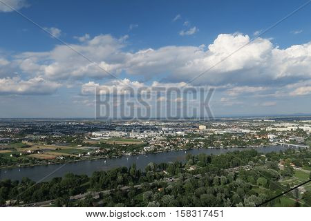 Panorama of the so called Old Danube, a Part of Danube River in Vienna, Austria.