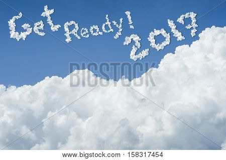 Beautiful Blue Sky And White Cloud. Sunny Day.cloudscape.close Up The Cloud.text Get Ready 2017.get